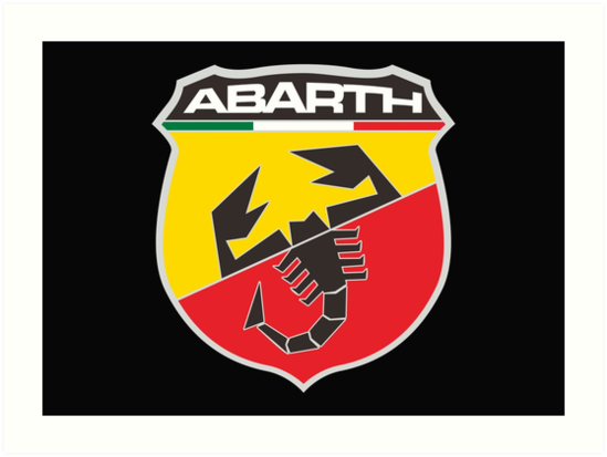\'Abarth Logo Merchandise\' Art Print by Jeffrey Swanson.