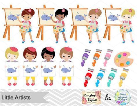 Digital Little Artist Clipart Little Girl Artist Clip Art.