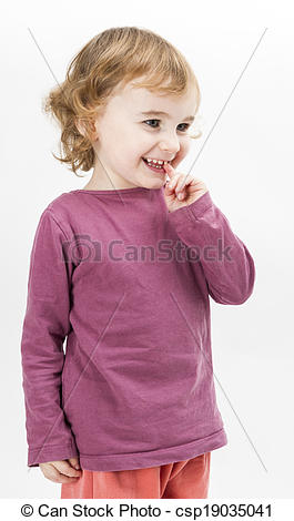 Stock Photo of abashed young girl in light grey background.