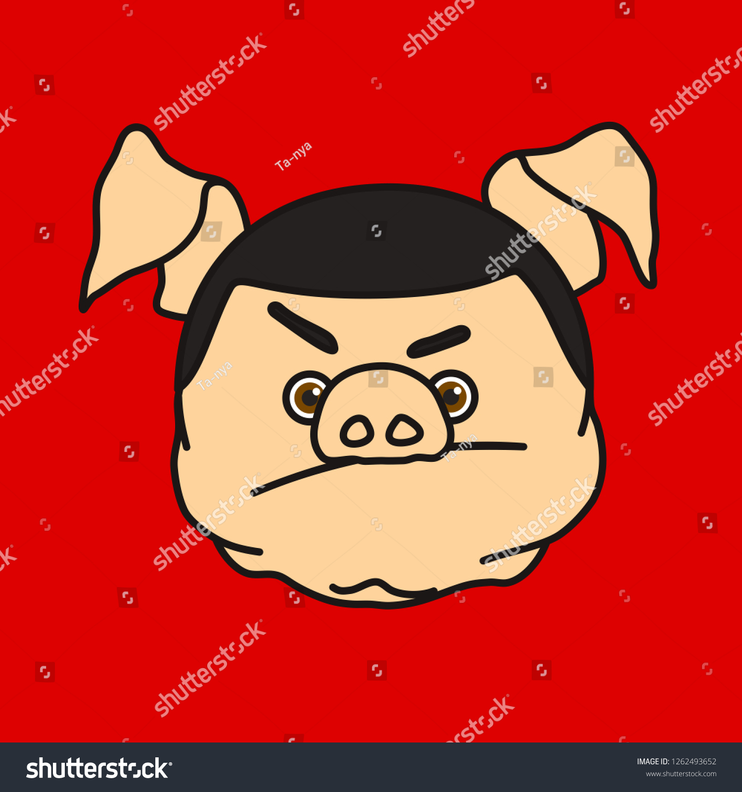 Emoticon Emoji Nonplussed Fat Pig Man Stock Vector (Royalty Free.