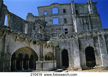 Stock Photograph of Arles France L Abbaye De Montmajour Abby Ruins.