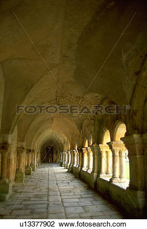 Stock Photo of abbaye, arched, fontenay, abbey, walkway, gothic.