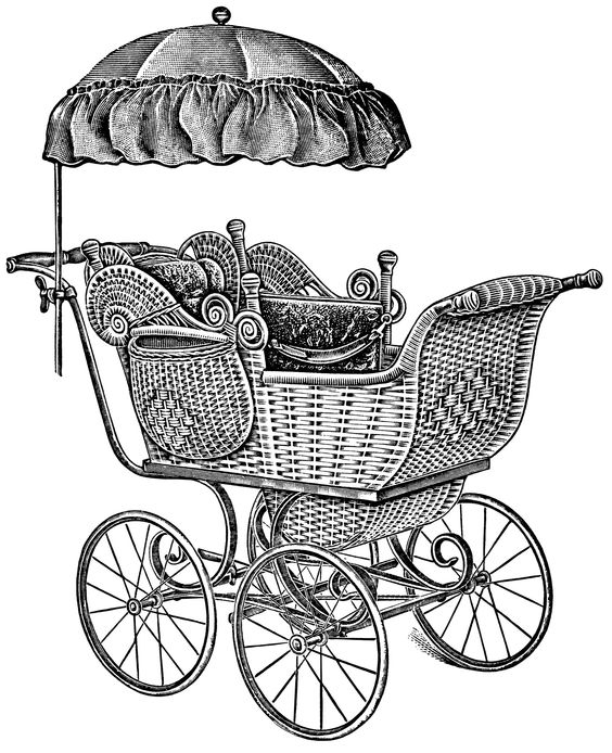 old catalogue page, vintage baby clip art, antique baby carriage.
