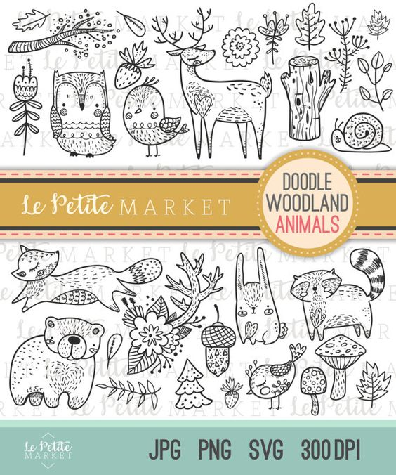 Cute Doodle Woodland Creature Clipart, Forest Animal Clipart.