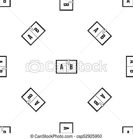 Children abc pattern seamless black.