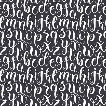 Hand drawn abc letters seamless pattern Clipart Image.