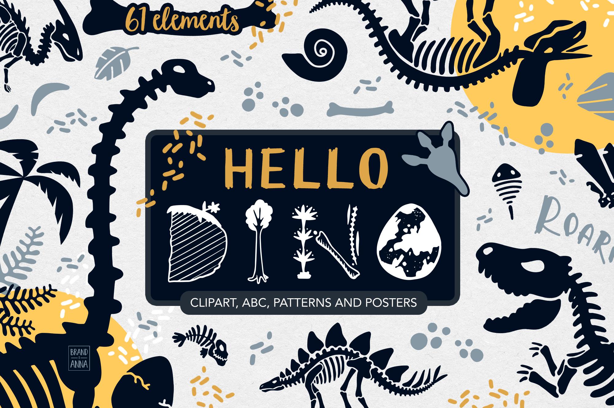 Dinosaur skeletons vector clipart, alphabet, patterns.