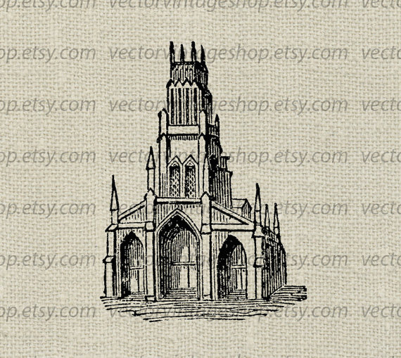 Church Clipart Vector Graphic Commercial Use by vectorvintageshop.