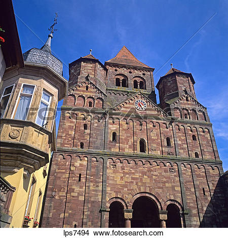 Stock Photo of oriel window and romanesque abbey church 11th.