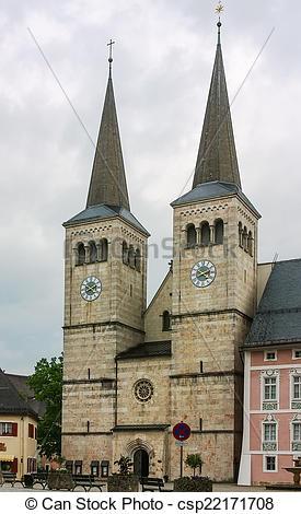 Stock Photography of Stiftskirche (Abbey Church), Berchtesgaden.