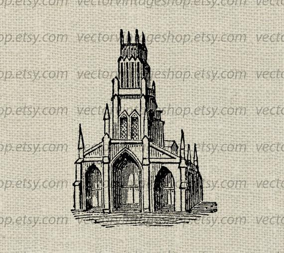 Church Clipart Vector Graphic Commercial Use Medieval Abbey.