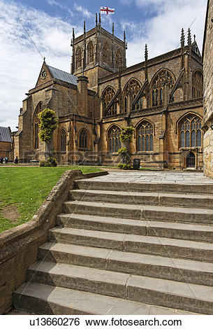 Stock Images of England, Dorset, Sherborne, Abbey Church of St.