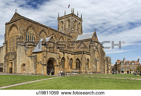 Stock Photograph of England, Dorset, Sherborne, Abbey Church of St.