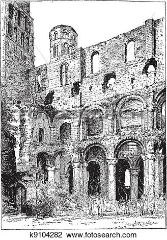 Clipart of Ruins of the Abbey of Jumieges, vintage engraving.