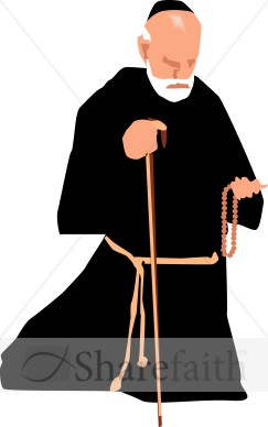 Catholic Monk with Rosary.