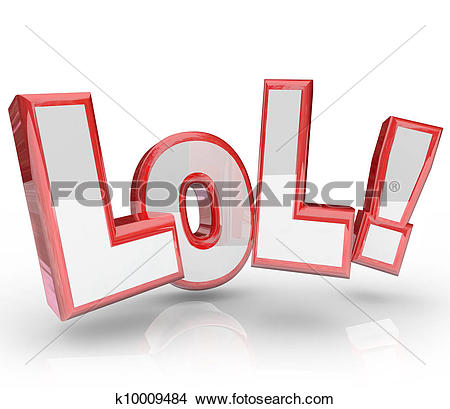Drawings of LOL Abbreviation Laugh Out Loud Funny Expression.