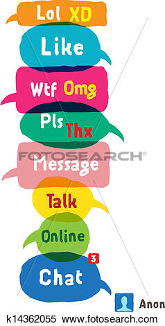 Clipart of Most common used acronyms and abbreviations on speech.