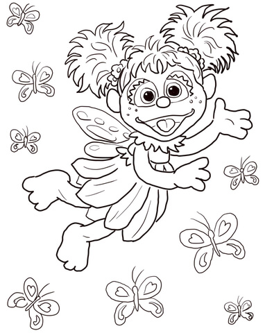 Abby Cadabby Flying with Butterflies coloring page.