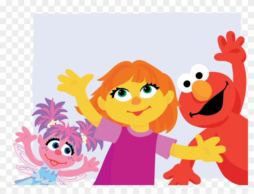 Elmo Abby Cadabby Grover Big Bird Julia.