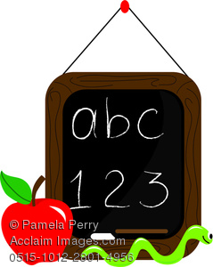 Cartoon Clip Art Of A Chalkboard With ABC 123 Written On It. There.