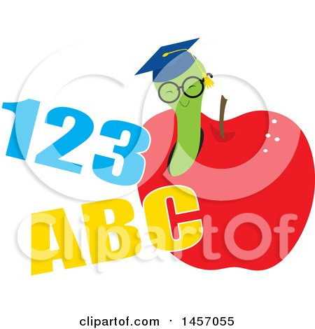 Clipart of a Graduate Worm Wearing a Hat and Emerging from an Apple.