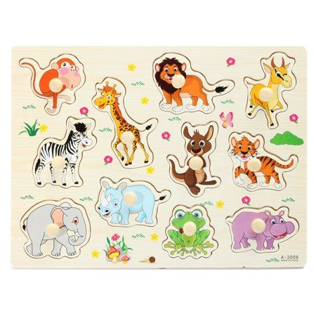Grtxinshu Wooden Zoo Animal / Alphabet ABC Peg Jigsaw Puzzle.