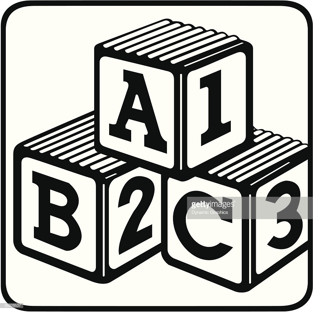 Abc Blocks Clipart Black And White.