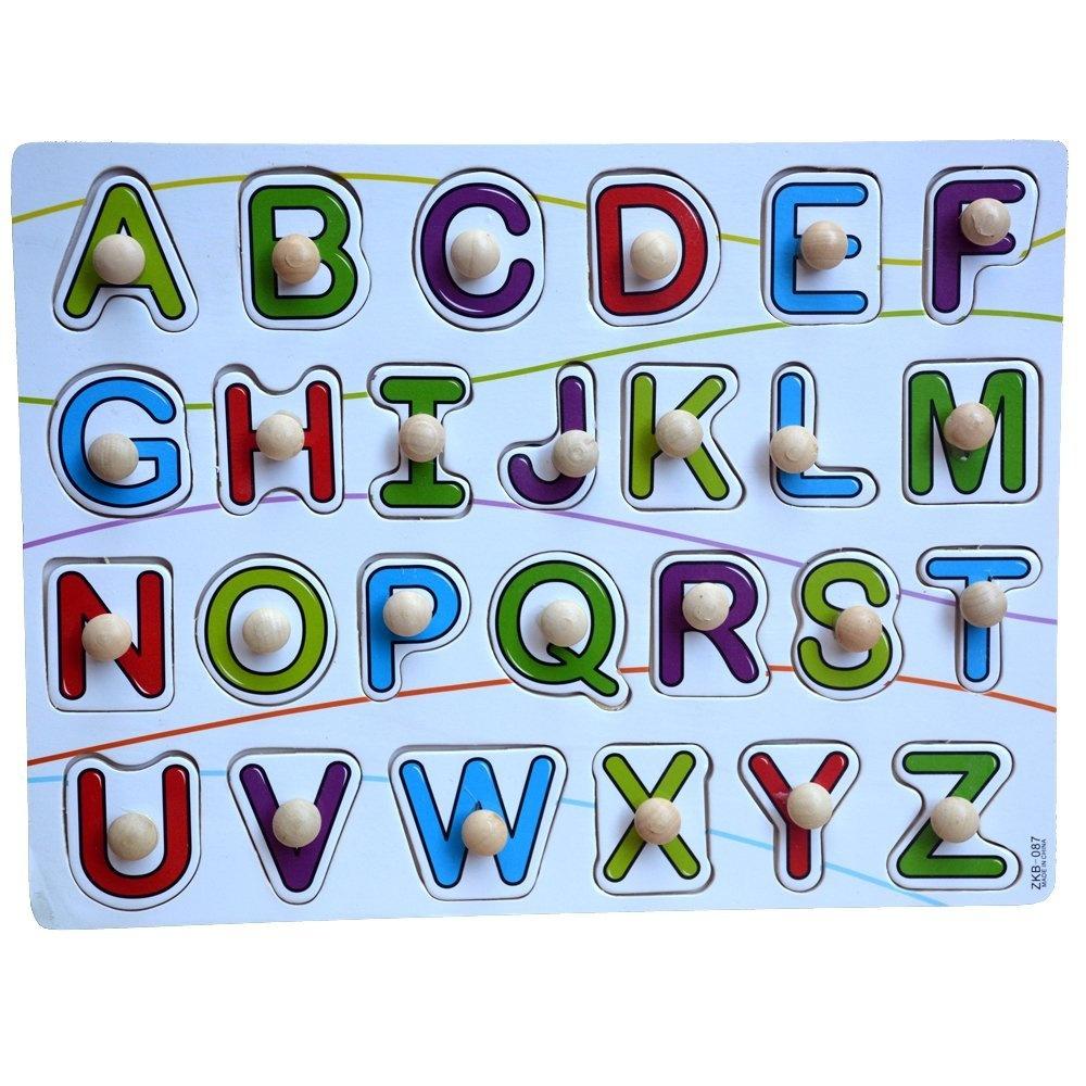 Wooden Alphabet Puzzle Coloured ABC Board Preschool Educational Toys Chunky.