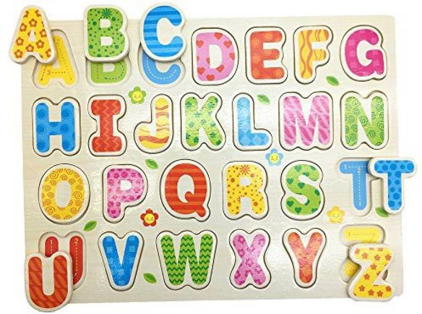 Mziart Cartoon Alphabet English Letters Wooden Puzzle For.