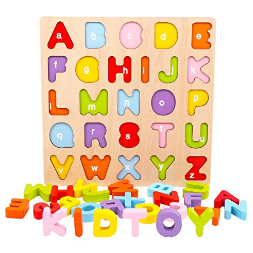 Alphabet Puzzle, WOOD CITY ABC Letter Puzzles for Toddlers1 2 3 Years Old,  Educational Learning Toys for Toddlers, Alphabet Toys with Puzzle Board &.