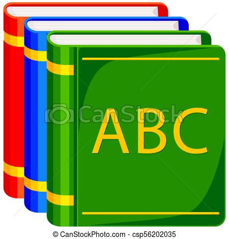 Colorful cartoon icon poster ABC book pile..