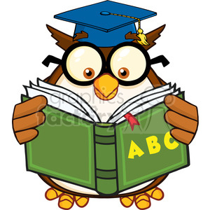 Royalty Free RF Clipart Illustration Wise Owl Teacher Cartoon Mascot  Character Reading A ABC Book clipart. Royalty.