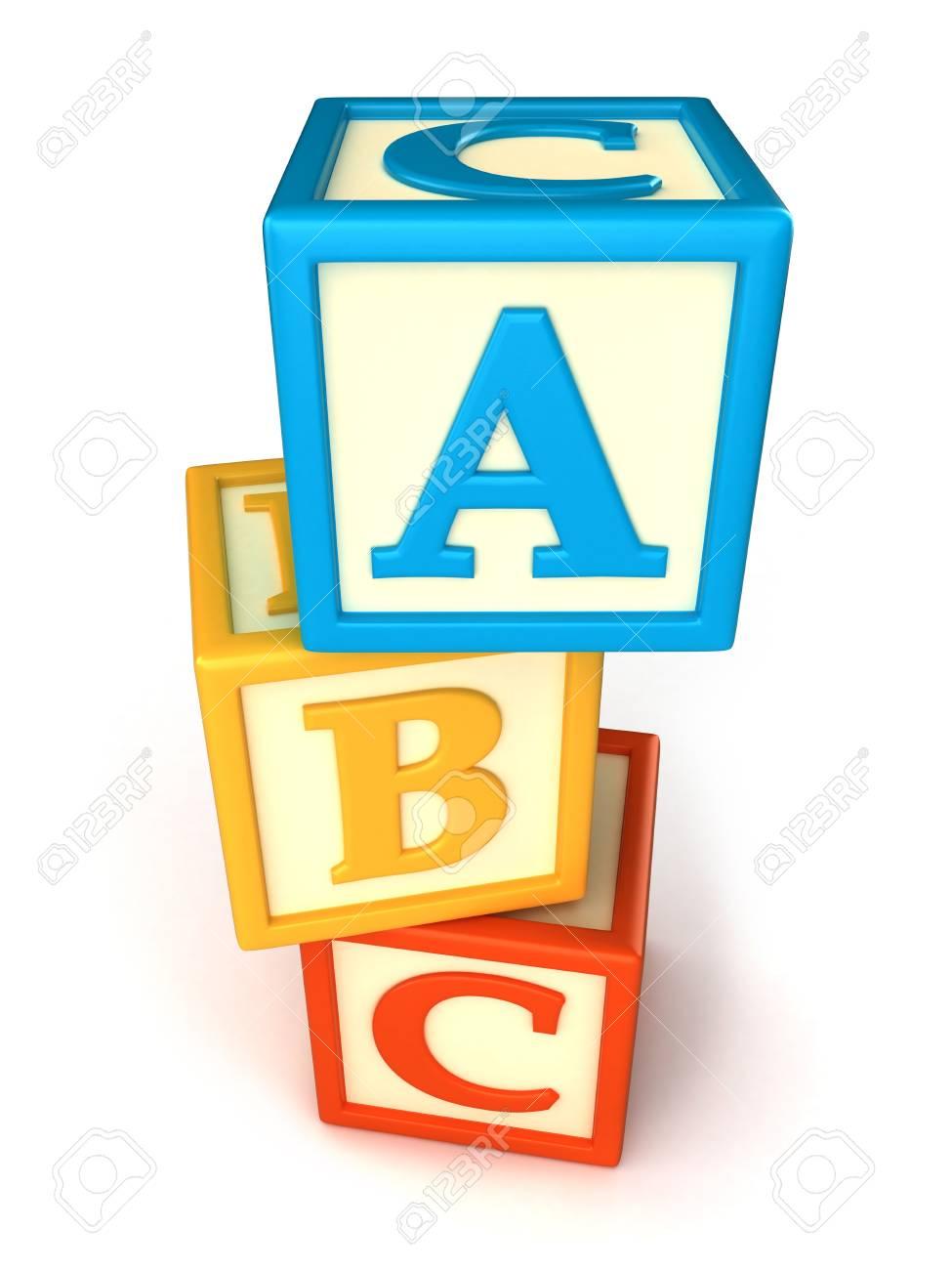 ABC building blocks on white background.