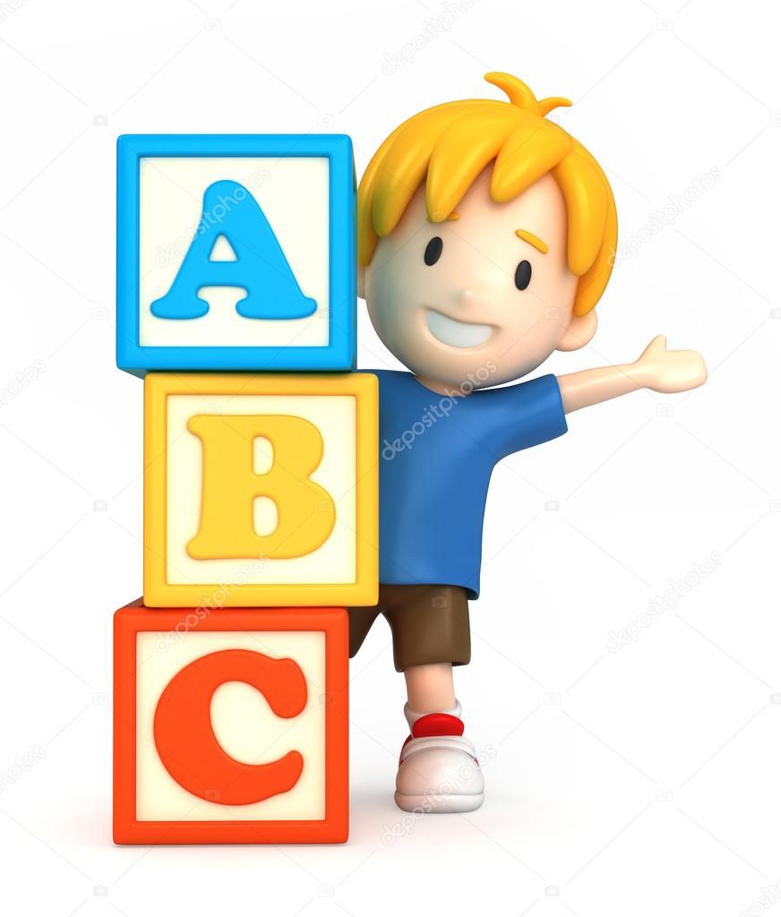 Boy and building blocks with ABC — Stock Photo © gouraudstudio #54858069.