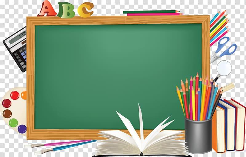 Green chalkboard with brown frame illustration, Desktop.
