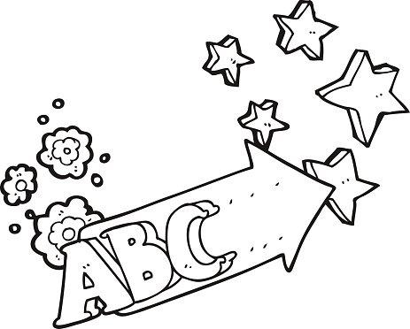 Black and White Cartoon Abc Symbol premium clipart.