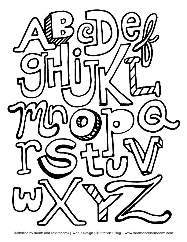 The ABC Letters: Free Printable Alphabet Coloring Book Page.