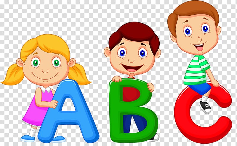 Children holding ABC letters illustration, Alphabet song.