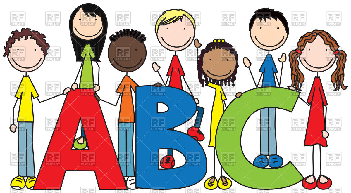 Cartoon illustration of seven kids and letters ABC Stock Vector Image.