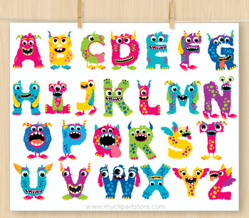 Monster ABC Alphabet Clipart, Rainbow Colors, Letters, Girl.
