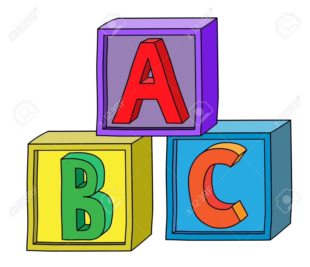 Colorful alphabet A B C letters on cube blocks as tower..