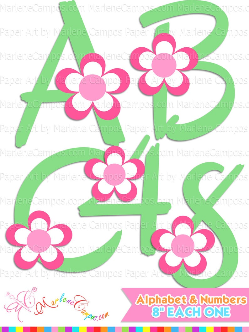 Flowers Alphabet Clip art, Letters and numbers clipart, abc clipart,  Numbers Clipart.
