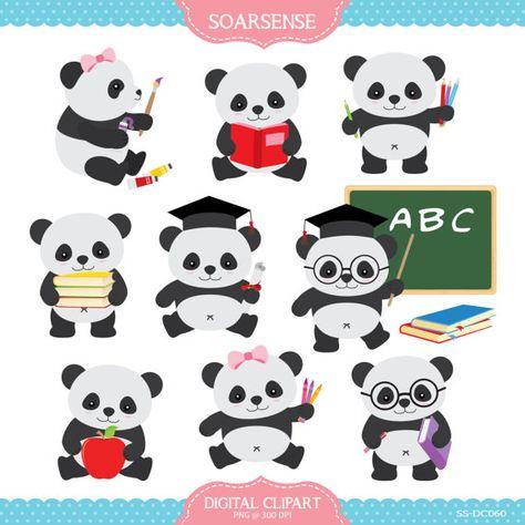 School Panda Clipart by soarsense on Etsy, $5.00.