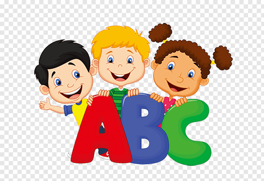Three toddler\'s standing behind ABC letters, Student Pre.