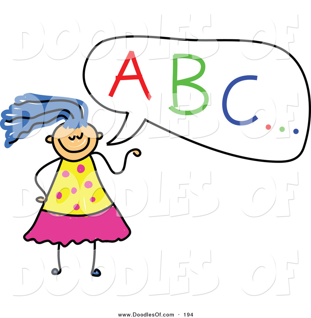 Vector Clipart of a Childs Sketch of a Girl with ABC in a.
