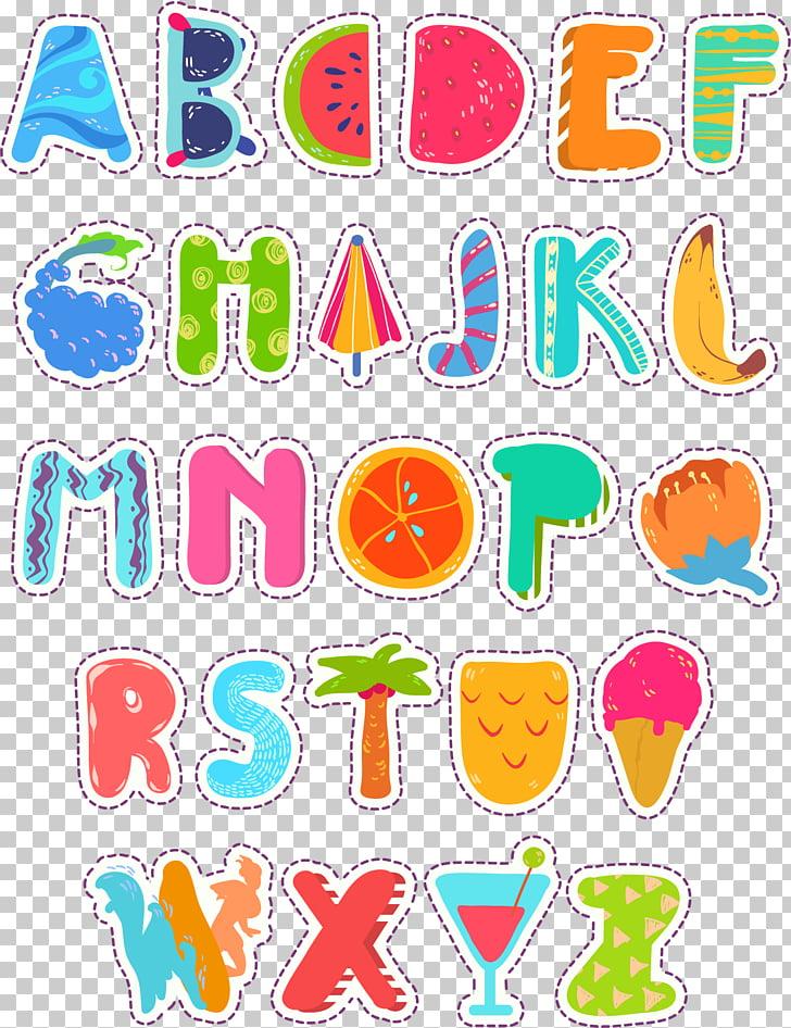Letters ABC English alphabet, Cartoon summer art word.