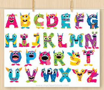 Monster ABC Alphabet Clipart, Rainbow Colors, Letters, Girl.