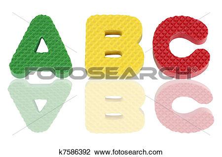 Stock Photo of A B C in foam letter k7586392.