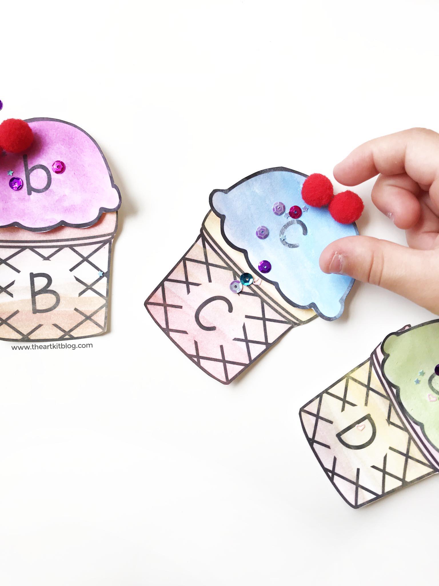 ice cream cone abc matching craft kids printable 3.