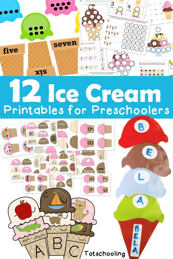 12 Ice Cream Printables for Preschoolers.